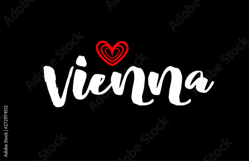 Photo  Vienna city on black background with red heart for logo icon design