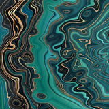 streszczenie tło, malachitowe zielone faliste linie ze złotymi żyłkami brokatu, nowoczesna marmurkowa ilustracja, fałszywe kreatywne kamienne tekstury - 272976159