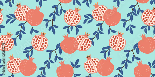 fototapeta na ścianę Tropical pattern with stylized pomegranate. Vector seamless texture.