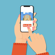Booking Online Hotel Hand With Phone