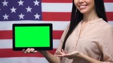 Woman Showing Green Screen Tab...