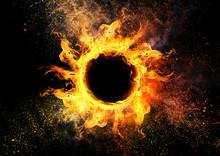 抽象的な太陽と黒の背景