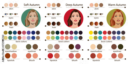 Valokuva  Stock vector seasonal color analysis palette for soft, deep and warm autumn
