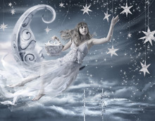 Surreal Fairy Tale Artwork, Girl On Moon, Stars, Night Sky, Beautiful Model And Fantasy Background