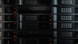 3d render background with. Technology theme. Abstract detailed server rack.