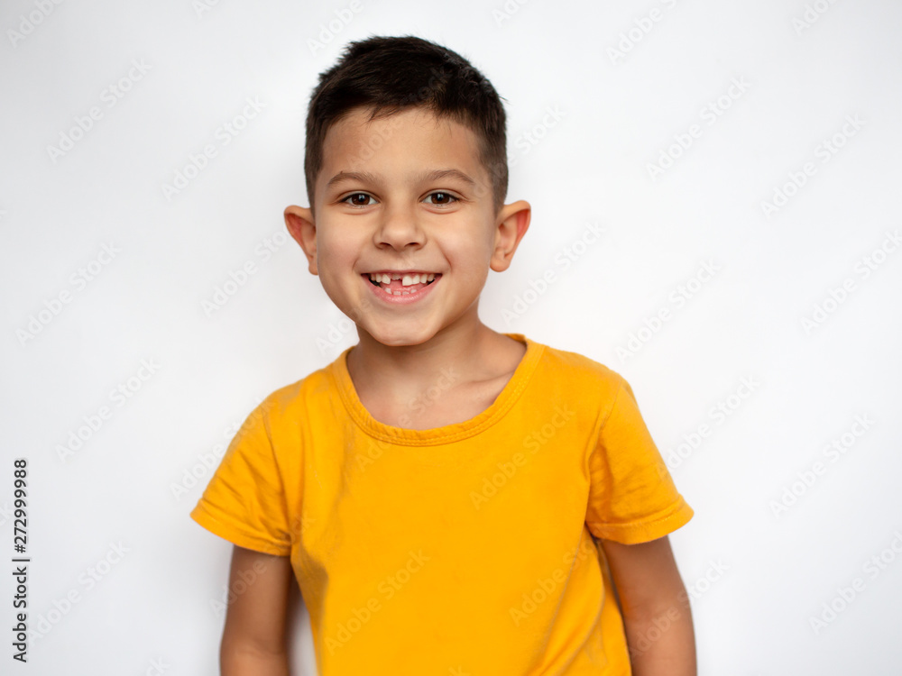 Fototapety, obrazy: Portrait of cute smiling little boy