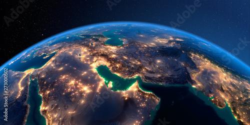 Fényképezés  Detailed Earth. Persian Gulf on a moonlit night