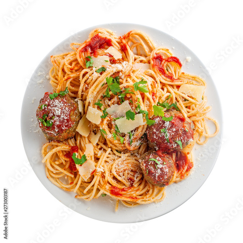 Spaghetti with meatballs, parmesan and tomato sauce on a plate Poster Mural XXL