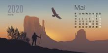 Calendrier 2020 Prêt à Imprimer En Version Française, Composé D'une Page Pour Chaque Mois Et D'une Page De Couverture. Ici Le Mois De Mai. Il Illustre Le Calme Et La Liberté Avec Des Paysages De