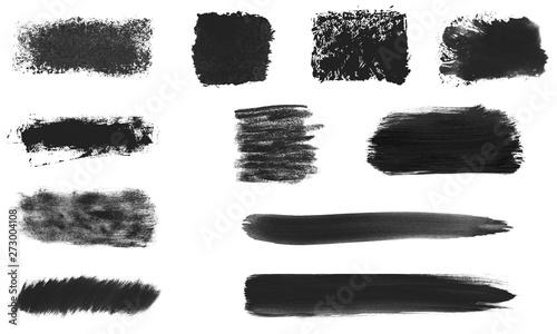 Fotografía  Sammlung von 11 schwarzen Pinseltexturen