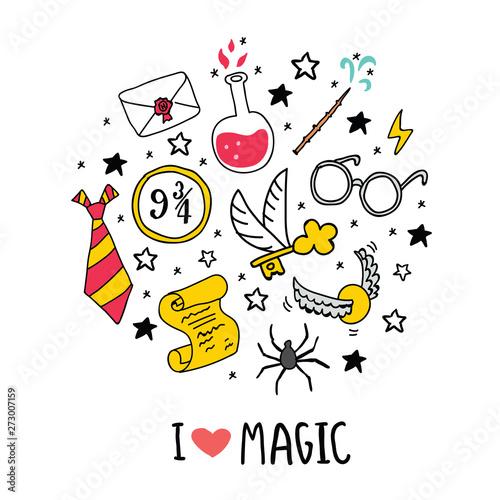 Magic vector set circle illustration lettering