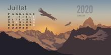 Calendrier 2020 Prêt à Imprimer En Version Française, Composé D'une Page Pour Chaque Mois Et D'une Page De Couverture. Ici Le Mois De Juillet. Il Illustre Le Calme Et La Liberté Avec Des Paysages De