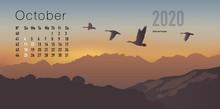 Calendrier 2020 Prêt à Imprimer En Version Française, Composé D'une Page Pour Chaque Mois Et D'une Page De Couverture. Ici Le Mois D'octobre. Le Calme Et La Liberté Avec Des Paysages De Montagnes A