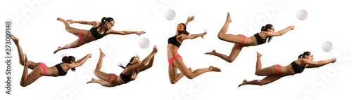 Woman volleyball beach player in action