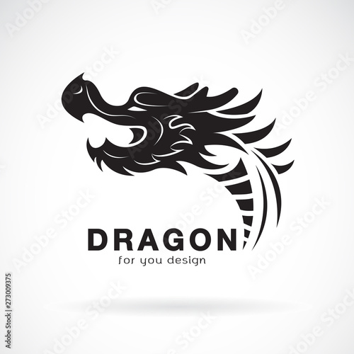 Vector of dragon head design on a white background. Animals. Dragon logo or icon. Easy editable layered vector illustration.