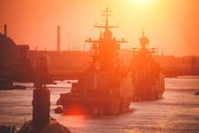 A Line Of Modern Russian Military Naval Battleships Warships In The Row, Northern Fleet And Baltic Sea Fleet