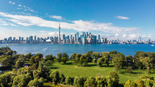 Toronto, Ontario, Canada, Aerial View Of Toronto Skyline And Lake Ontario