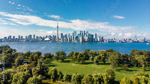 Toronto, Ontario, Canada, Aerial View of Toronto Skyline and Lake Ontario Canvas Print