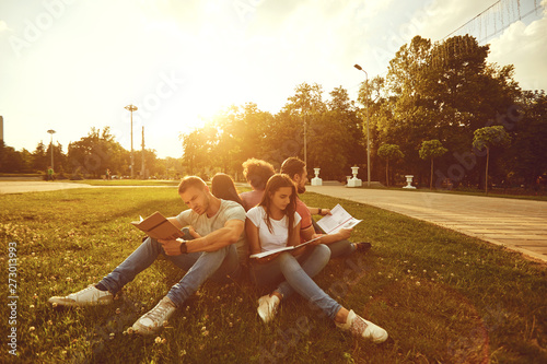 Photo sur Toile Les Textures Students study sitting on green grass in a park in summer spring.