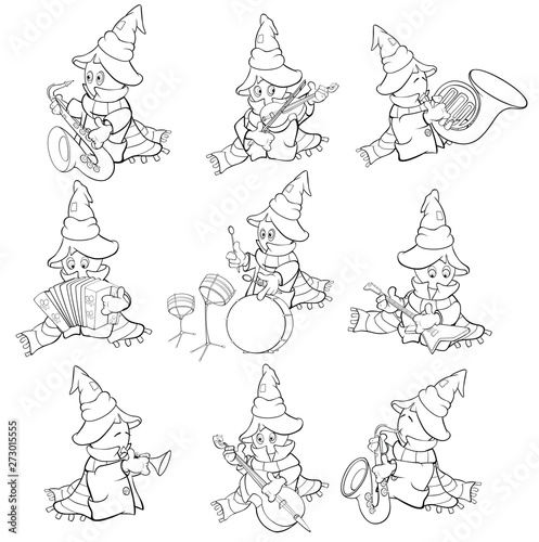 Vector Illustration of a Cute Cartoon Character Ghost for you Design and Computer Game. Coloring Book Outline Set