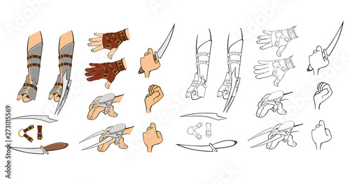 A Set of Vector Cartoon Illustrations. Knifes, Swords, Daggers for you Design and Computer Game Coloring Book Outline