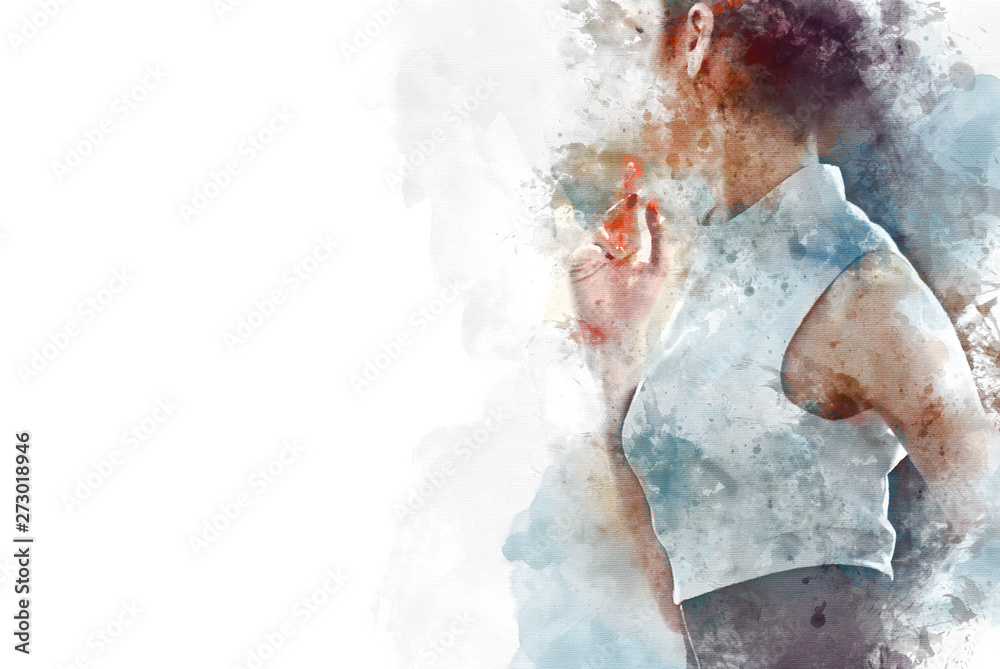 Beautiful Asia Business woman manager smile portrait and office building background in the capital city on watercolor illustration painting background.