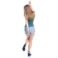 Woman In Denim Shorts Dancing On White Background Isolation, Back View
