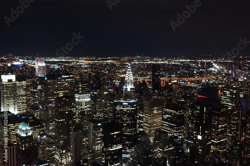 vista nocturna de ciudad de nueva york