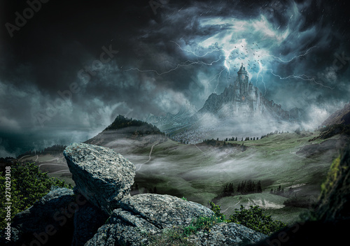 Great castle dark with strong rays and lightning Wallpaper Mural