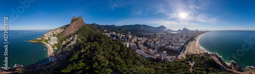 Printed kitchen splashbacks Rio de Janeiro Sunrise 360 degree full panoramic aerial view of Two Brothers mountain and Leblon beach and neighbourhood in Rio de Janeiro in the foreground and the wider cityscape in the background