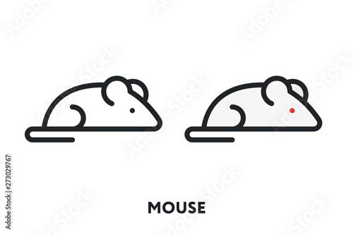 Obraz na plátně  Mouse Rat Animal Tail Vector Flat Line Icon Illustration.