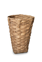 Old Wooden Wicker Baskets For Harvesting Isolated