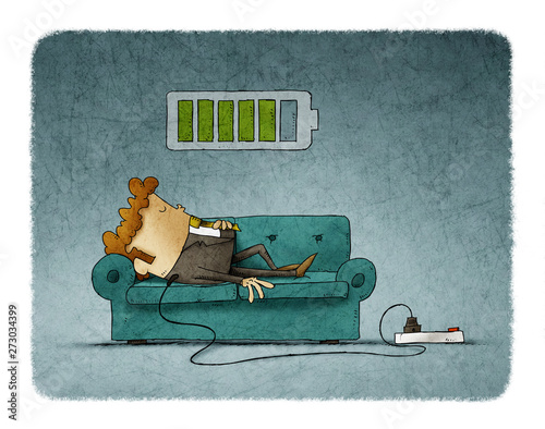 Illustration of a businessman on the sofa is connected to the power grid while recharging energy Canvas Print