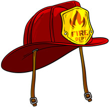 Cartoon Red Firefighter Helmet With Golden Badge. Isolated On White Background. Vector Icon.