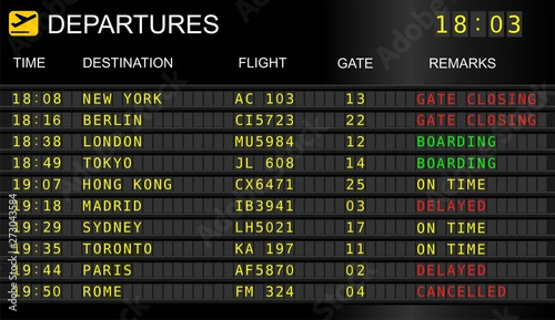 Photo Flight information display system in international airport, cancelled and delaye