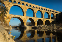 Roman Bridge Pont Du Gard In Autumn In South Of France