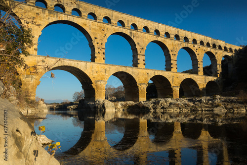 Roman Bridge Pont du Gard in autumn in South of France Canvas Print