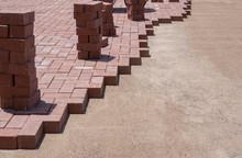 Stone Pavers Bricks Being Laye...