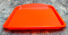 Red Plastic Dining Tray On The...