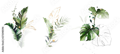 Fototapety, obrazy:  watercolor and gold leaves. herbal illustration. Botanic tropic composition.  Exotic modern design