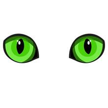 Beautiful Green Cat Eyes. Simple Flat Vector Illustration