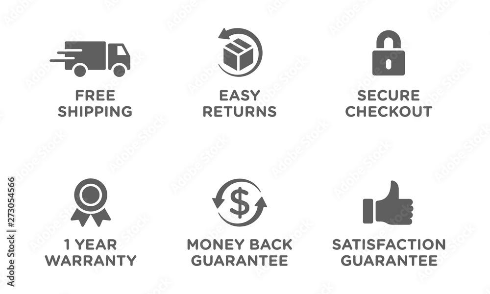 Fototapeta E-commerce security badges risk-free shopping icons set