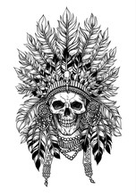 Indian Skull In Feather Crown