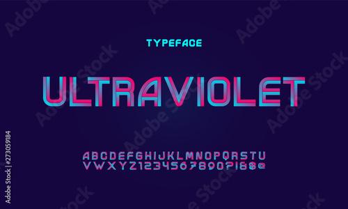 Fototapeta Vector of modern vibrant font and alphabet obraz na płótnie
