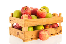 Crate Fresh Apples Isolated Over White Background