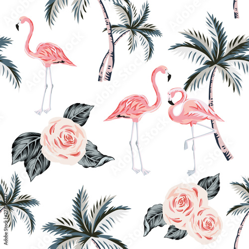 rozowy-flaming-palmy-roza-kwiaty-z-liscmi-biale-tlo-wektor-kwiatowy-wzor-tropikalna-ilustracja-egzotyczne-rosliny-i-ptaki-lato-na-plazy-rajska-natura