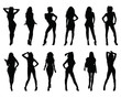 Black silhouettes of women in different  posing on a white background