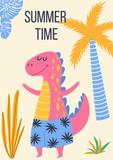 Fototapeta Dinusie - Tropical card with a cute cartoon dinosaur in beach shorts. Vector illustration.