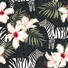 Tropical Zebra Animal, Hibiscus Flowers, Palm Leaves, Dark Gray Background. Vector Seamless Pattern Illustration. Summer Beach Floral Design. Exotic Jungle Plants. Paradise Nature