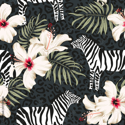 Tuinposter Vlinders Tropical zebra animal, hibiscus flowers, palm leaves, dark gray background. Vector seamless pattern illustration. Summer beach floral design. Exotic jungle plants. Paradise nature